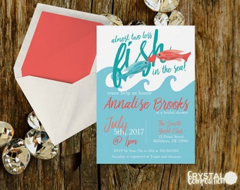 Almost Two Less Fish in the Sea Bridal Shower Invitation Printable