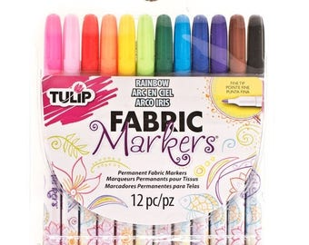 SALE ENDS SOON Fabric Markers, Tulip Markers, Markers for Color Me Pillows, Craft Markers, Kids Craft Supplies, Art Supplies,  12 pack
