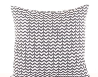 SALE ENDS SOON Gray Chevron Throw Pillow Cover, Zig Zag Print Pillowcases, Chevron, Gray and White Pillows, Bed Pillows, Cushion Covers, Sof