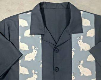 jackalope, rabbit, antler, bowling shirt, small to 2xl