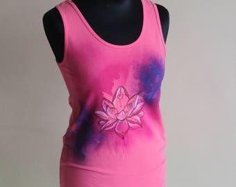 lotus flower paint hippie tank top L womens pink