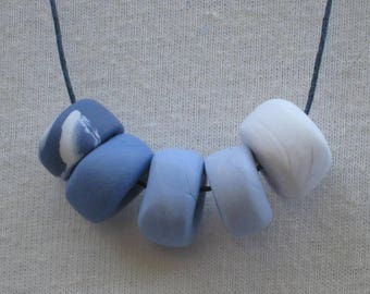 Handmade Periwinkle Blue Gradient Polymer Clay Necklace
