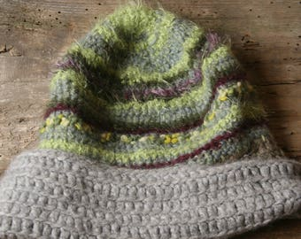 Maxi Mohair soft hat, mixed cashmere, wool and mixed inserts