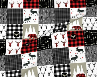 Personalized Woodland Baby Blanket-Personalized Minky Baby Blanket-Buffalo Plaid Buck minky baby blanket-Moose baby blanket Boy Girl