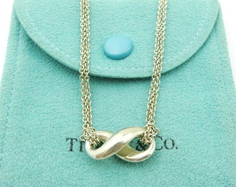 Authentic TIFFANY & CO Sterling Silver Infinity Double Chain Pendant Necklace