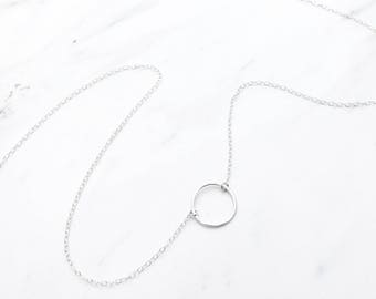 Silver Circle Necklace / Karma Necklace Sterling silver, Circle necklace silver, Open ring necklace, Minimalist, Birthday, Bridesmaid gift