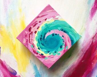 Pink Mellifluous Original Mini, Mini Painting, Mini Art, Original Art, Abstract Art, Room Decor, Fine Art, Home Decor, Small Painting
