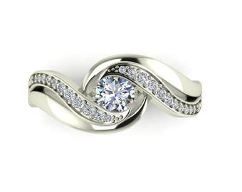 Forever One Moissanite Swirl Halo Engagement Ring