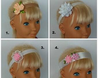 4 models of Baby's Headband/Satin Headband/Headband for Cristening or Communion/Headband with Kanzashi Flowers