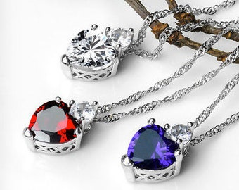 925 Heart Pendant with Silver Plated Necklace
