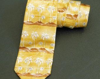 Men's Vintage Yellow Tropical Necktie, Palm Tree Print, Novelty Neckwear, Styled by Taylor, Coastal Beachwear, Shiny Cruise Accessory, Old
