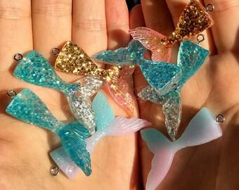 Mermaid tail Charm-Little Mermaid Charms-Glitter Mermaid Charm-Resin Mermaid Charm Pendant-DIY mermaid tail keychain & mermaid tail necklace