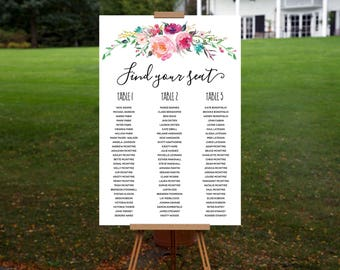 Blooming Wedding Seating Chart - Watercolour Florals - Personalised Digital Download - Printable