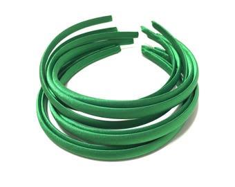 Green Satin Headbands, Emerald Satin Headbands, Green Headband, Emerald Headbands, Emerald Green Headbands, Green Plain Headbands
