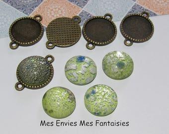 10pcs cabochons 5 supports bronze 14mm + 5 cabochons glass leaf Lampwork 14 mm Green C49