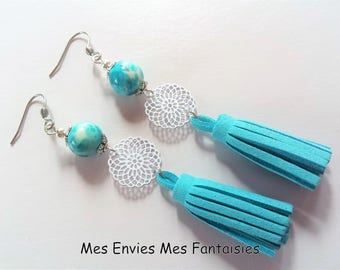 Earrings Boheme Bleu Jade and grey blue tassels and rose connector