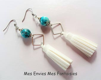 Boheme Bleu Jade and grey tassels conneteur white diamond earrings