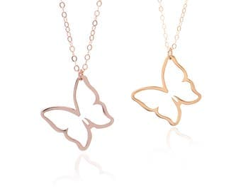 Rose Gold Or Gold Butterfly Necklace, Butterfly Pendant, Gold Or Rose Gold Jewelry