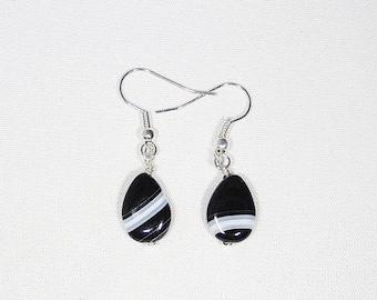 Agate, black lace earrings