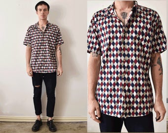 Vintage Button Up 90s Short Sleeve Printed Shirt