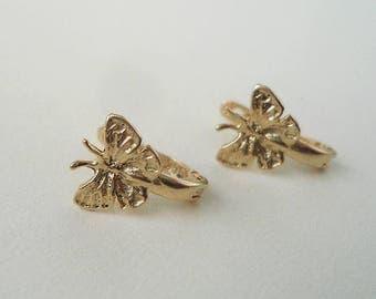 Tiny gold earrings, Baby gold earrings, children gold earrings, butterfly gold earrings, gold earrings, kids gold earrings