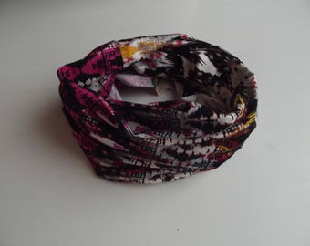 neck viscose lightweight zip zap multicolored