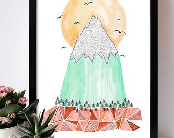 Illustration mountain print