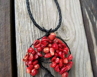Dyed red agate tree of life