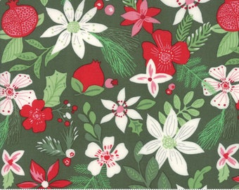 "End of Bolt, Christmas Spruce in Light Green from the Merry Merry Collection by Kate Spain for Moda, Christmas Floral, Christmas 18""x44"""