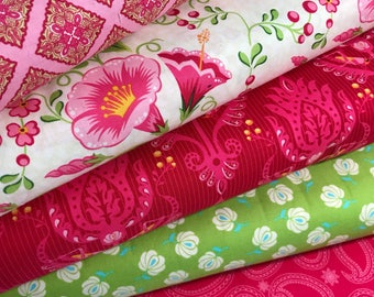 Bundle of 5 Fabrics from the Primavera Collection by Patty Young for Riley Blake, Pink and Green Floral