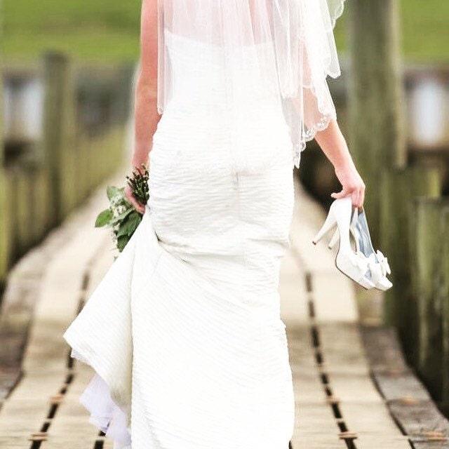 6/ Ivory Pleated Silk Wedding Dress / Sheath Wedding Dress /