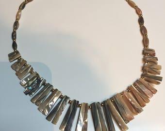 """Tan Abalone Necklace 16"""" Choker"""