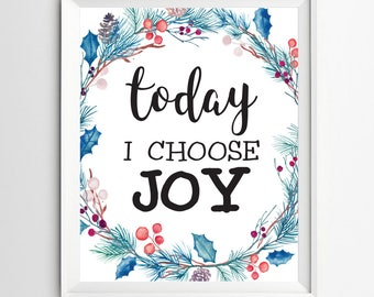 I choose joy print Positive Art Quote Print wall decor inspirational quotes nursery decor Kids Wall Art Today  Motivational quote art