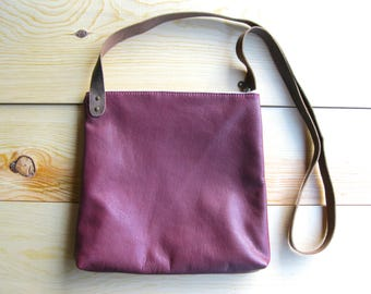 Crossbody Bag - Cranberry. Medium Messenger Bag with Brown Leather Crossbody Strap. Brass Metal Zipper and Lined with Gray Linen