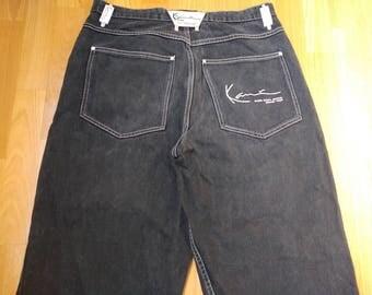 KARL KANI jeans, black vintage baggy Kani jeans, loose pants, 90s hip-hop clothing, old school 1990s hip hop, OG, gangsta rap, size W 34
