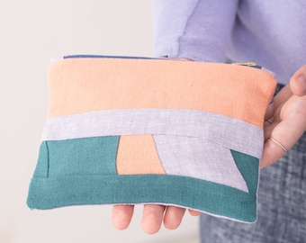 Unique Patchwork Zip Top Pouch - Zero waste design - Cosmetic bag - Pencil case - Gift for her - Valentines gifts - Makeup Bag - Pouch Purse