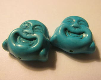 Carved Turquoise Resin Laughing Buddha Beads, 20mm, Set of 2