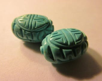 """Turquoise Magnesite Oval Beads with Chinese """"Shou"""" Motifs, 16mm, Set of 2"""