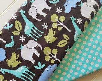 Michael-Miller-Zoology-Brown-Ta-Da-Dot-Cotton-Aqua-Coordinates-Fabric-By-The-Yard-Bundle