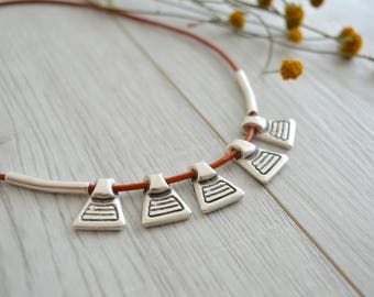 Brown Leather Choker Shield Necklace, Leather Wrap Choker Necklace, BohoChic Bib Statement Necklace, Ethnic Tribal Jewelry, Amulet Necklace