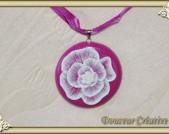 Violet purple flower lace 112002 Choker