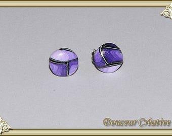 Earrings violet purple black round 114005