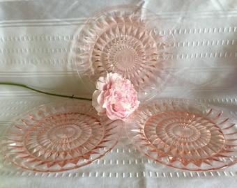 Antique Jeannette glass Windsor pattern pink dinner plates lot Depression glass era