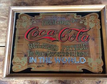 Vintage Coca Cola advertising wall hanging mirror bar home decor