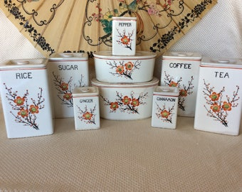 Rare Moriyama Occupied Japan ceramic storage kitchen Canister decor
