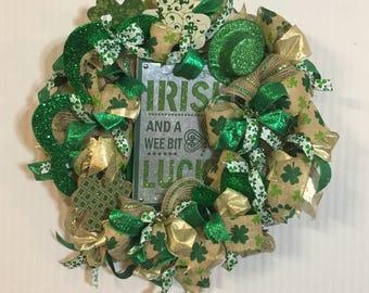 St. Patricks Day deco mesh wreath