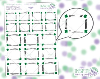 Four Leaf Clover Hand Drawn Boxes ~ Planner Stickers
