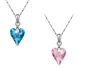 Swarovski Crystal Heart Pink and Blue Pendant ~ Silver Crystal Necklace ~ Jewellery in Gift Box