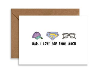 "Love you dad card. Printable Fathers day card, hand drawn illustration, 5""x7"" greeting card instant download."
