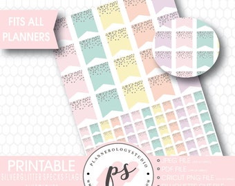 Silver Glitter Specks Flags Printable Planner Stickers | Luscious | JPG/PNG/Silhouette Cut Files